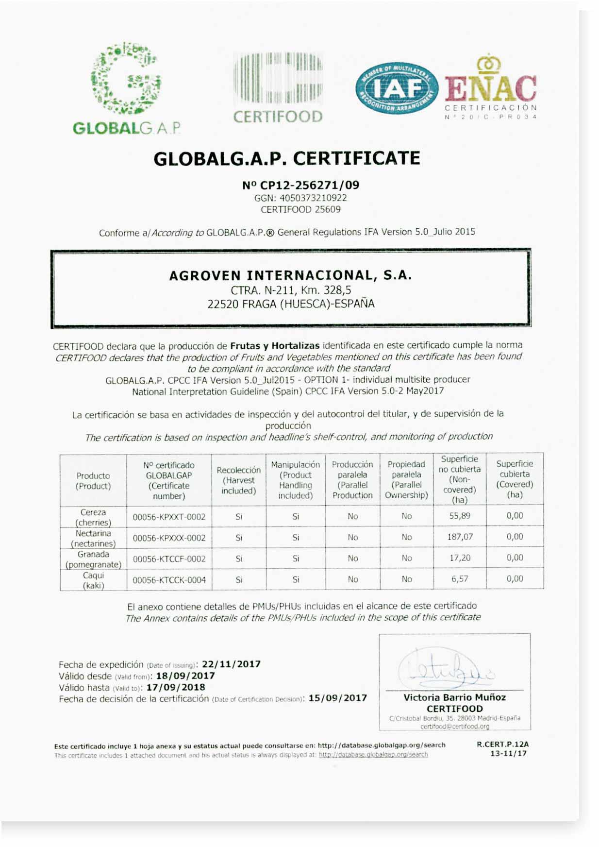 Certificado-G.A.P. G.A.P-Certificate. Agroven International.